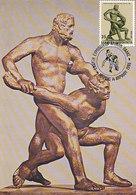 D33623 CARTE MAXIMUM CARD TRIPLE 1986 GREECE - STATUE WRESTLING LUTTEURS CP ORIGINAL - Wrestling