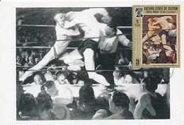D33625 CARTE MAXIMUM CARD 1967 KATHIRI SEIYUN - PAINTING BOXING STAG AT SHARKEY'S BY BELLOWS 1909 CP ORIGINAL - Boxing