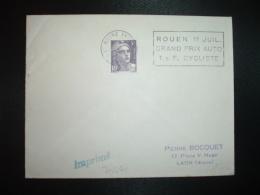 L. TP M.DE GANDON 5F OBL.MEC.?-6 1954 LE HAVRE ENTREPOT SEINE MME (76) ROUEN 11 JUIL. GRAND PRIX AUTO T.D.F. CYCLISTE - Marcophilie (Lettres)