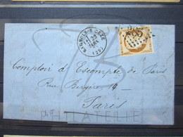 """VEND TIMBRE DE FRANCE N° 38 , SUR PLI , G.C. """" 285 """" (BAGNOLS-S-CEZE) !!! - 1870 Siege Of Paris"""