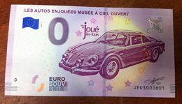 37 JOUÉ LÈS TOURS ALPINE RENAULT BILLET ZERO EURO SOUVENIR 2018 BANKNOTE BANK NOTE EURO SCHEIN PAPER MONEY - Coches