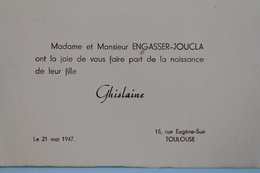TOULOUSE   18947   FAIRE  PART  DE  NAISSANCE - Birth & Baptism
