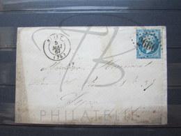 """VEND TIMBRE DE FRANCE N° 22 , SUR LETTRE , G.C. """" 2660 """" (NIORT) !!! - 1862 Napoleon III"""