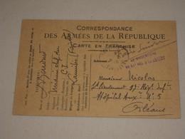 WW1 Carte En Franchise FM - Cachet Vaguemestre Du 51e Régiment D'artillerie - Médecin Chef à Lannilis Finistère - WW I