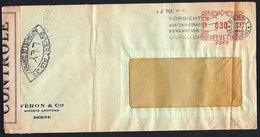 """20-IV-1945 LETTRE SUISSE ( BERN )  METER STAMP + BANDE CENSURE """" OUVERT PAR AUTORITES CONTROLE """" - Covers & Documents"""