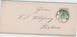 ALLEMAGNE 1879 ENTIER POSTAL  BANDE JOURNAL DE STETTIN - Germany
