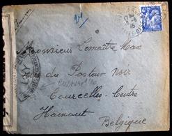 1945 LETTRE CENSURE DE  * LIVRY GARGAN * - Vers COURCELLES --- * OUVERT PAR LES AUTHORITES DE CONTROLE * YVERT 656 SEUL - 1939-44 Iris