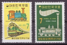 Corée Du Sud 1969 - MNH ** - Trains - Michel Nr. 673-674 (tre038) - Trains