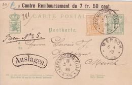 """Luxembourg - Entier 33 De 5c + Y&T 53 De Luxembourg-Ville à Mersch - """"Contre Remboursement"""" - Luxembourg"""