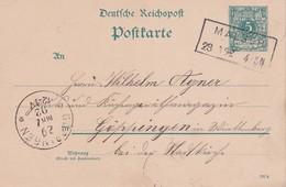 ALLEMAGNE 1892 ENTIER POSTAL CARTE DE MALSCH - Entiers Postaux