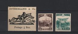 JAPAN 1912 SUTHERLAND ZEGEL + 2 ZEGELS ONGETAND MET GOM - Nuovi