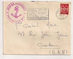 1962 CACHET GROS CACHET ROUGE SERVICE A LA MER MARINE NATIONALE / TIMBRE FM / MARINE PA1758 - Postmark Collection (Covers)
