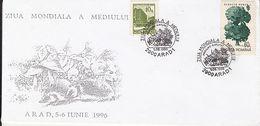MUSHROOMS, HEDGEHOG, TREE, ENVIRONEMENT DAY, SPECIAL COVER, 1996, ROMANIA - Mushrooms