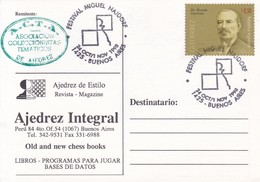 CARD. AJEDREZ DE ESTILO MAGAZINE AJEDRES INTEGRAL ADVERTISING FETIVAL MIGUEL NAJDORF. OBLIT BS AS. ARGENTINA.-BLEUP - Ajedrez