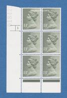 GREAT BRITAIN 1979 MACHIN HARRISON 13p OLIVE-GREY  PCP 1 S.G.X944 SHEET CYLINDER BLOCK U.M. - Machins