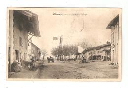 CPA 01 CHAZEY Place Du Village Maisons Attelage éolienne - France