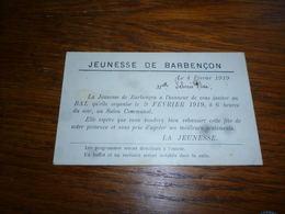 BC4-2-0 Jeunesse De Barbençon 1919 Invitation Au Bal Dela Jeunesse - Autres Collections