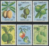 Laos 1989 Guava Durian Pomegranate Fruit Plants Pods Trees Food Nature Plant Tree 6v Stamps MNH Mi 1169-1174 SC 949-954 - Food
