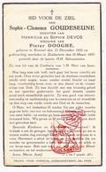 DP Sophie C. Goudezeune / DeVos De Vos ° Kemmel Heuvelland 1852 † Zuidschote Ieper 1937 X Pieter Dooghe - Devotieprenten