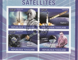 Togo 2010 Mi. Satellites Explorer 1 Navstar Sputnik 1 Korolev  Sheet CTO Perf. Togolaise - Togo (1960-...)
