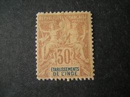 INDE - 1892, Fournier Tres Rare, Cent. 30, N. 9 MLH*,TTB - Indien (1892-1954)
