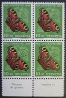 "Suisse Svizzera Pro Juventute 1955: Yvert-No.568 ** MNH Con Tab ""Pavone Di Giorno & Inachis Io"" (CHF 8.00++) - Vlinders"