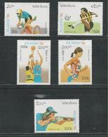 Laos 1996 Summer Atlanta Olympic Games Olympics Sports Basketball Cycling Shooting Stamps MNH (one Back Slightly Damaged - Ciclismo