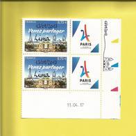 PARIS Ville Candidate Des Jeux Olympiques 2024 Surchargé LIMA Du 13 09 2017 2 Timbres Avec Marge Du 11 04 17 - Autres