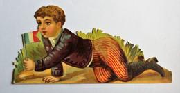 Grande Chromo Découpis Originale Chocolat Besnier Le Mans Jeune Enfant Drapeau Français Scène Patriotique - Schokolade