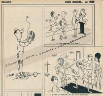 """ESCRIME : PAGE HUMOUR, DESSINATEUR UBER, """"FAIRE MOUCHE..."""" COUPURE REVUE (1961), 3 SCANS - Fencing"""