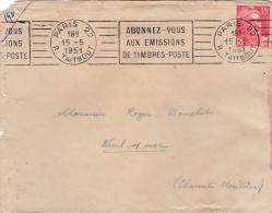 """Flamme """" Abonnez-vous Aux Emissions De Timbres-Poste"""" Sur Lettre  Affranchie Gandon 15 F Rouge De 1951 - Oblitérations Mécaniques (flammes)"""