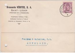 SAINT-LEGER-BRASSERIE-VERITIER-S.A.-CARTE PUBLICITAIRE-ENVOYEE-1941-2 TROUS D'UN ANCIEN CLASSEMENT-VOYEZ LES 2 SCANS ! ! - Saint-Léger