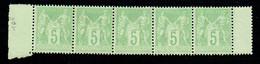 FRANCE - N° 106** - Sage - 5 C. Vert-jaune Neuf Sans Charnière En Bande De 5. - 1876-1898 Sage (Type II)