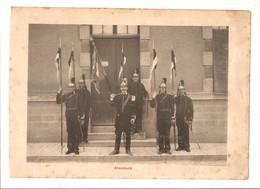Militaria Photo Recto Verso Ofiiciers Et Etendard Photo Issue D'un Album De 1901 Du 16 ème Dragons De Reims - Unclassified