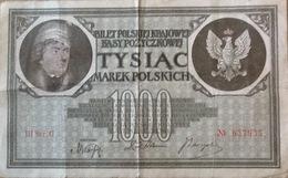 1000 Marek. Tysiac. 1919. Billet De Banque. Banknote. Pologne. Poland. Polen. - Pologne