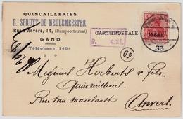 Belgien, 1917, Gand Pour Anvers   , #a552 - [OC26/37] Terr. Etapes