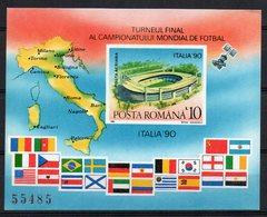 ROMANIA 1990 - CAMPIONATI MONDIALI CALCIO - FOGLIETTO-  MNH ** - Ongebruikt