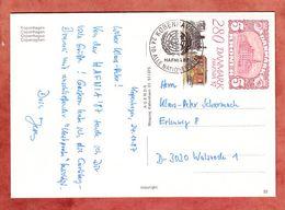 AK Kopenhagen, EF + Motivgleicher Stempel Hafnia, Nach Walsrode 1987 (51194) - Briefe U. Dokumente