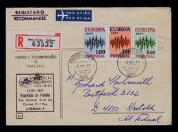 EUROPE CEPT Set 3x (issue 01 May) Circulate Cover Date-pmk 1972-10-03 Lisboa KREFELD Sp5186 - 1910-... République