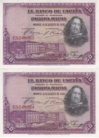 PAREJA CORRELATIVA DE 50 PTAS DE 1928 DE VELAZQUEZ SERIE E EN CALIDAD EBC (XF) (BANKNOTE) - [ 1] …-1931 : Primeros Billetes (Banco De España)