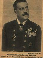 Vizeadmiral Karl Kailer Von Kaltenfels /Druck,entnommen Aus Zeitschrift /1917 - Bücher, Zeitschriften, Comics