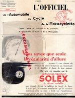 REVUE L' OFFICIEL AUTOMOBILE CYCLE MOTOCYCLETTE- MOTO-AUTO- 1937-SOLEX-TECALEMIT BUS-CYCLISME-UNIC-FAVOR-TSF-CAMINADE - Auto