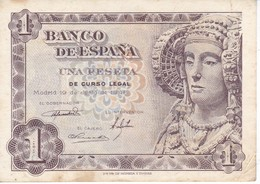 BILLETE DE 1 PTA DEL AÑO 1948 SIN SERIE SIN CALIDAD MBC (VF) DAMA DE ELCHE  (BANKNOTE) - [ 3] 1936-1975 : Régimen De Franco