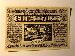 Allemagne Notgeld Stuttgart 1 Mark - [ 3] 1918-1933 : Weimar Republic