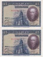 PAREJA CORRELATIVA DE 25 PTAS DEL AÑO 1928 SERIE B SIN CIRCULAR-UNCIRCULATED  (BANKNOTE) - [ 1] …-1931 : Primeros Billetes (Banco De España)