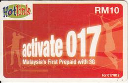 MALAYSIA - Activate 017, Maxis Prepaid Card RM10, Exp.date 08/09, Used - Malaysia