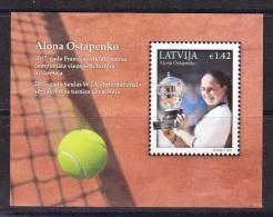 LATVIA 2017 French Open Champion - A.Ostapenko - Miniature Sheet - Tennis