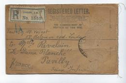 Lettre Enregistrée Londres 1919 Cachet Cire - Seals Of Generality