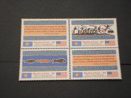 PALAU - 1983 POSTA/DISEGNI 4 VALORI, In Quartina(block Of Four) - NUOVI(++) - Palau