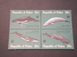 PALAU - 1983 BALENE 4 VALORI, In Quartina(block Of Four) - NUOVI(++) - Palau